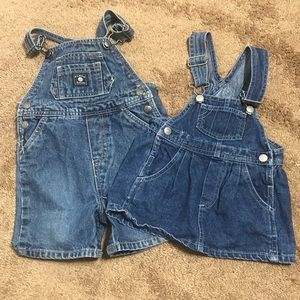 2 pairs Overalls Skirt And Shorts Size 18 Months